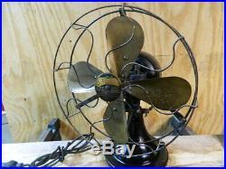 Antique Electric Fan Brass Blade Peerless Vintage Old Great Original Works Fine