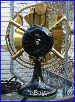 Antique Electric Fan Coleman Deflector on Emerson Junior Rare Brass Beautiful