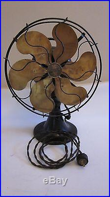 Antique Electric Fan Emerson 1919 Brass 6 Blade Model 27666 UNRESTORED WORKS