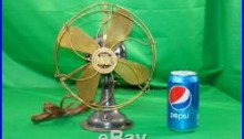 Antique Electric Fan Jandus Brass Blade & Guard with brass motor housing and base