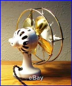 Antique Electric Fan Polar Cub Snowflake Vintage Unusual Rare Unique Brass