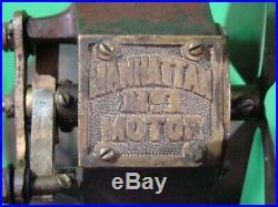 Antique Electric Manhattan Battery Power Brass Fan Early 1900 Motor