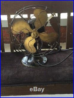 Antique Emerson 12 Brass Blade Fan-Model 28646 -Runs-3 Speeds