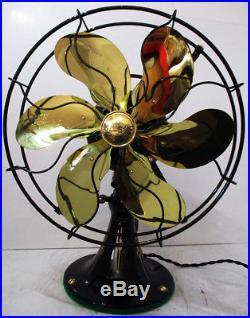 Antique Emerson 6-Brass Blade 12-in, Model 71666 3-spd Oscillating Fan