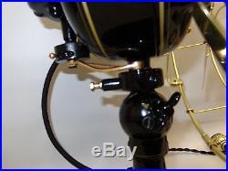 Antique Emerson 6 blade brass fan 21666 detent lever oscillator vintage 1914