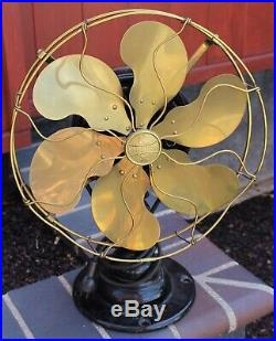 Antique Emerson Brass 6 Blade Cage 3 Speed Electric Fan Type 21666 No. 192098