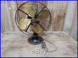 Antique Emerson Brass Blade Fan- Type 29646 Oscillating Vintage Industrial
