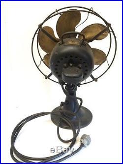 Antique Emerson Electric Fan Brass Blade #27666 Oscillates All 3 Speeds Work