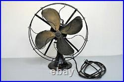 Antique Emerson Fan 4-Brass Blade 16-inch 73648 3-speed Oscillating WORKS