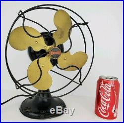 Antique Emerson Jr. Parker Brass Blade Non Oscillating One Speed 9 Desk Fan