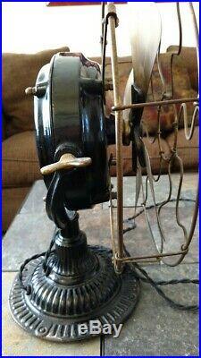 Antique Emerson Pancake electric Trojan fan 5110 12 brass blades working