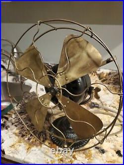 Antique Emerson Trojan Brass Blade Fan Cast iron base 5310 blades
