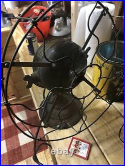 Antique Emerson Trojan Electric Fan With Brass Blades And Brass Cage