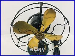 Antique Fan Brass Blades GE Whiz Fan 1920s Gold Black Color Distressed Works