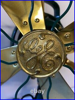Antique Fan General Electric G. E. Brass Green Paint Restored