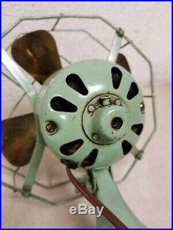 Antique Fitzgerald MFG Co. Star-Rite 10 Art Deco Green Electric Fan