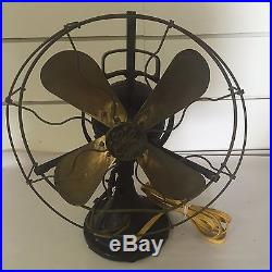 Antique GE General Electric Oscillating Fan with Brass Blades Type A Form R 5 Rare