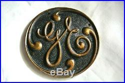 Antique GE General Electric cast brass sign plaque Edition Tesla era fan motor