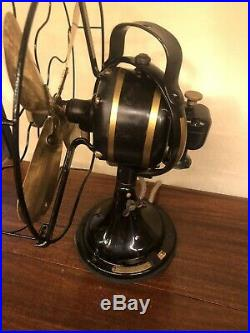 Antique GE Loop 12 Fan Brass Blade Oscillating 3 Speeds 1927 Restored