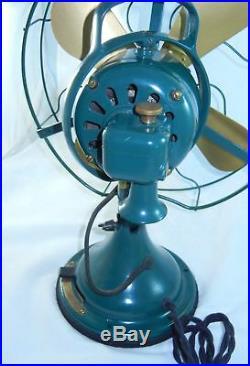 Antique GE Model G28625 12 Restored Fan Oscillating 3 Speed Green Form AE2
