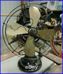 Antique GE Whiz 4 Brass Blade Fan, Wire Cage, 9, Original, General Electric (V)