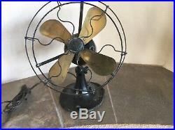 Antique GE Whiz 4 Brass Blade Fan, Wire Cage, 9, Original, WORKING -1520806 C