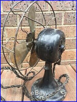 Antique Galvin 10 Brass Blade Non Oscillaing Electric Fan
