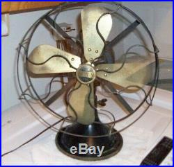 Antique Galvin 12 Brass Blade Oscillating 3 Speed Electric Fan Series 52. Works