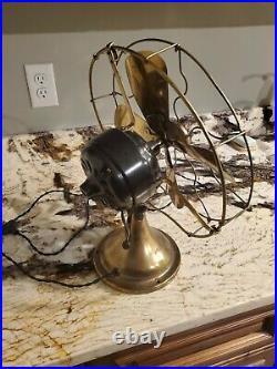 Antique Ge Fan 12 brass vintage cast works great
