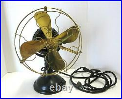 Antique General Electric Cast Iron, Brass Blade & Brass Cage Fan Works