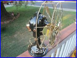 Antique General Electric GE KIDNEY Oscillating Fan 12 brass blades CAGE