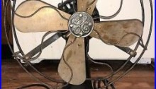 Antique General Electric GE Nickel Coin Operated Hotel Fan Brass Blades Taxi Fan