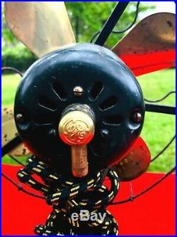 Antique General Electric GE WHIZ Brass Blade Fan Black RESTORED RUNS SMOOTH