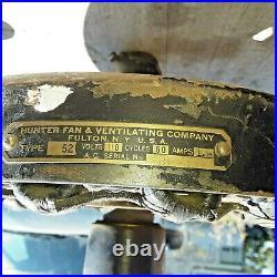 Antique HUNTER FAN & VENTILATING CO. FULTON, NY Type 52 Ceiling Fan Project