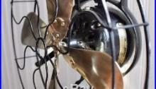 Antique Hunter Alternating Current Fan Motor 12 brass blade 3 speed (works)