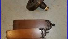 Antique Hunter R-52 Cast Iron Ceiling Fan with Blades Art Deco 1930