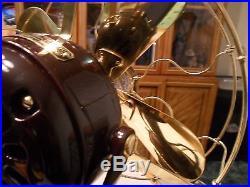 Antique Hunter brass blade brass cage big motor yoke electric fan Restored LOOK