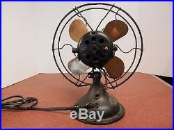 Antique Ideal Temco 10 Electric AC DC Fan Brass Blades Brush Motor