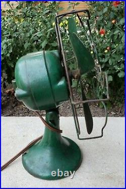 Antique Koldair Desk Fan Cast Iron Orig Green Paint Deco 1930's/40's