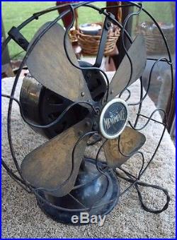 Antique Menominee AC 12 Inch Brass Blade Fan Type 109 Works