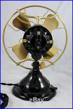 Antique Menominee Staghorn Brass Blade / Cage 8 Electric Fan Beautiful