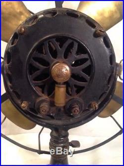 Antique PanCake Model G. E. Alternating Current Electric Fan Brass Blades C 1901