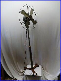 Antique Pedestal Electric Floor Fan Art Deco Style Cast Iron Brass Emco Austria