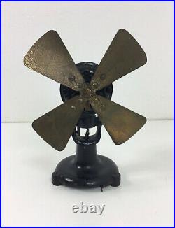 Antique Peerless Electric Co 8 Brass Blade Desk Fan Pizza Wing Tri Tab Base