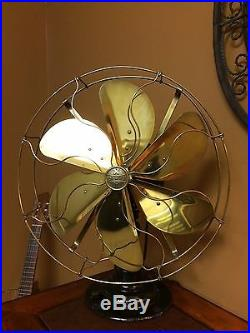 Antique Restored EMERSON 7 6 Blade Oscillating Fan withALL BRASS Blades/Cage