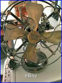 Antique Robbins Myers 3 speed Oscillating Brass Blade Fan