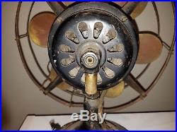 Antique Robbins Myers 6 Brass Blade Fan List No. 2104 Works Vtg 3 Speed HTF Rare