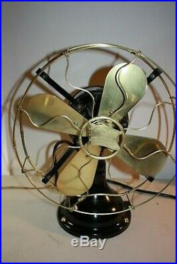 Antique Robbins & Myers THE STANDARD 13 Brass 4 Blade 3 speed fan, excellent