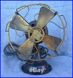Antique Robbins & Myers THE STANDARD Brass Blade / Cage 8 Electric Fan 1801