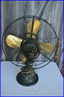 Antique Sprague Electric Brass Fan Type AOU Form V2 75425 16 in. Blade 272040-1